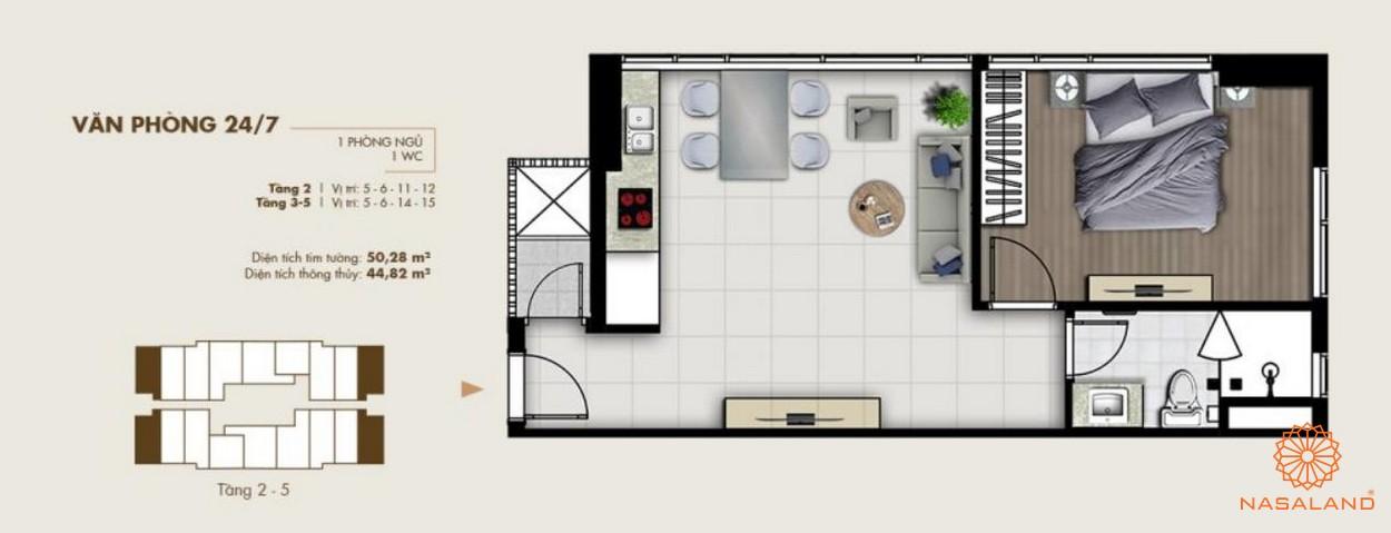 Thiết kế văn phòng tại dự án Ascent Lakeside quận 7 một phòng ngủ tiện nghi rộng rãi