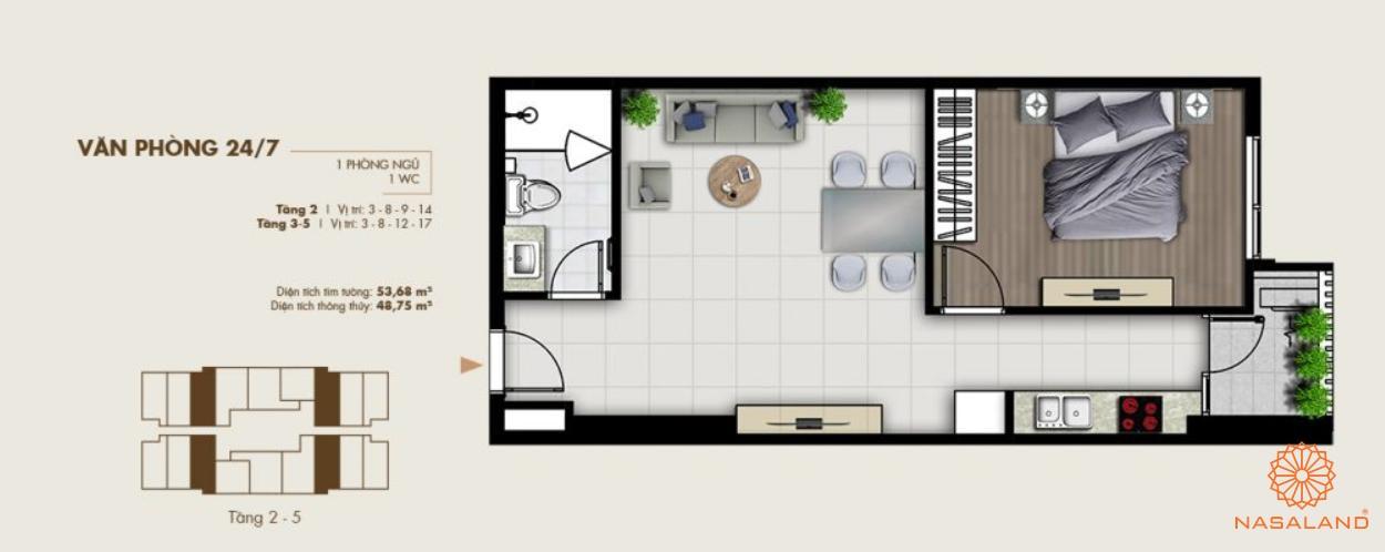 Thiết kế văn phòng tại dự án một phòng ngủ tiện nghi