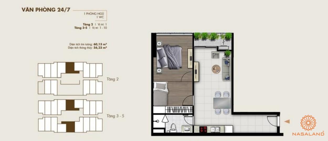 Thiết kế văn phòng tại dự án một phòng ngủ
