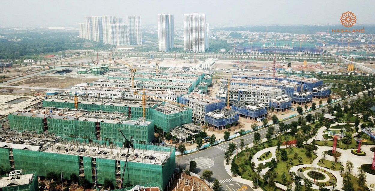 Tiến độ xây dựng khu thấp tầng tháng 11 - toàn cảnh nhà phố The Manahattan Glory