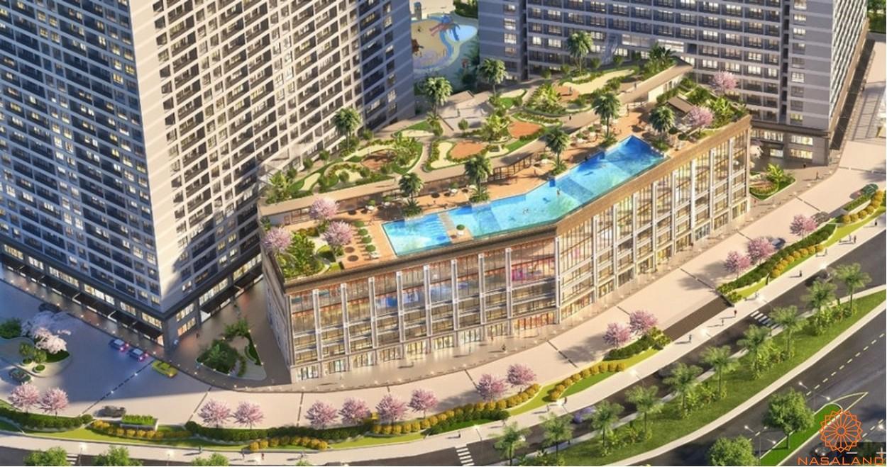 Hồ bơi sky view tại block tiện ích căn hộ Lavida Plus quận 7