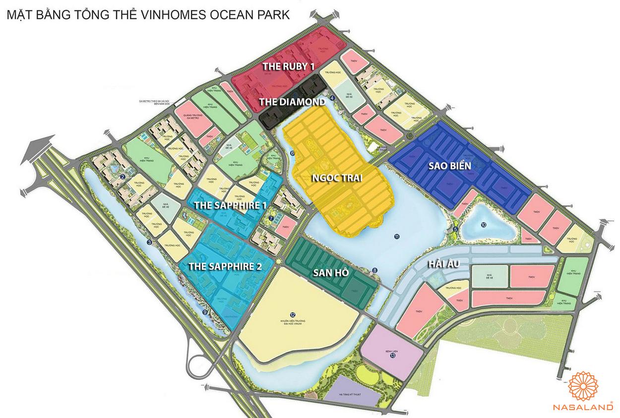 Mặt bằng tổng thể các phân khu Vinhomes Ocean Park