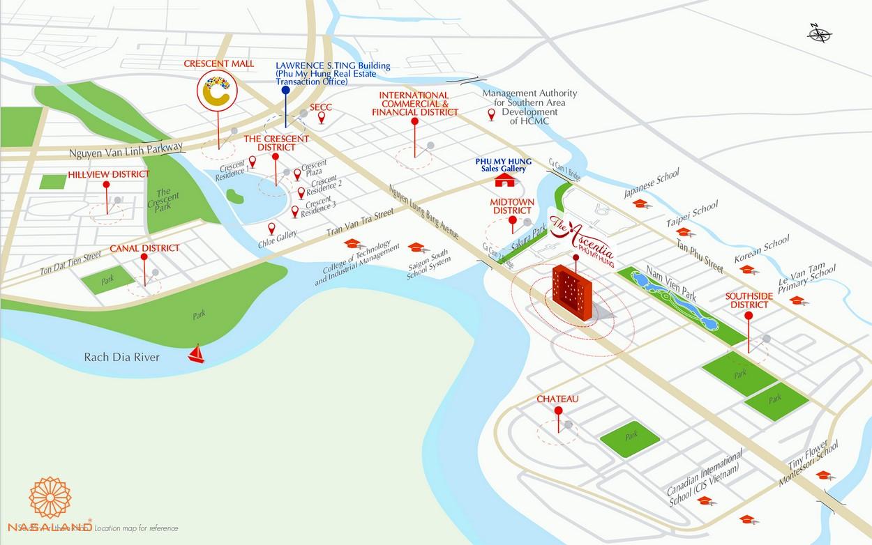 Vị trí dự án căn hộ The Ascentia quận 7