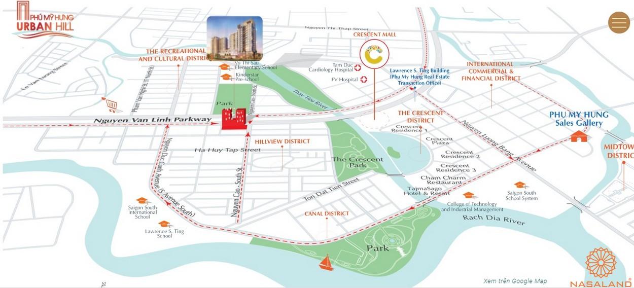Vị trí địa chỉ dự án căn hộ Urban Hill quận 7