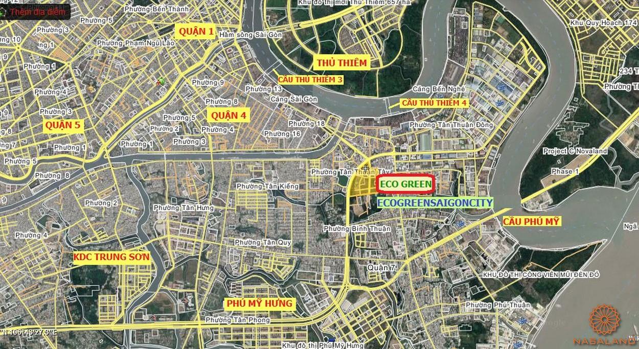 Vị trí thuận lợi di chuyển của dự án Eco Green Sài Gòn quận 7