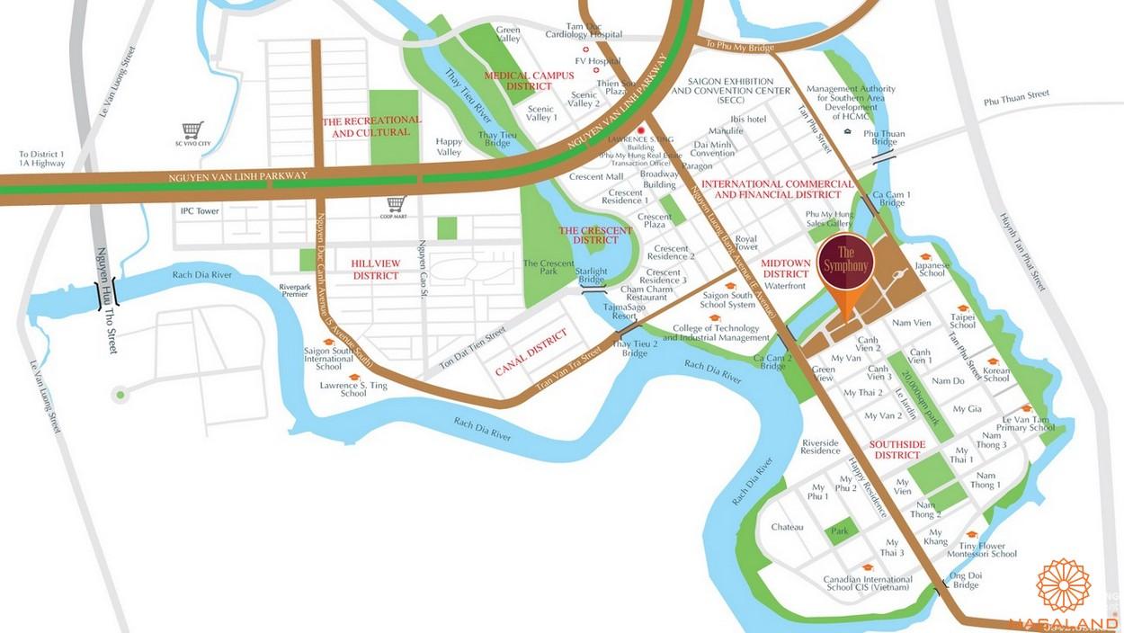 Vị trí địa chỉ dự án Symphony quận 7