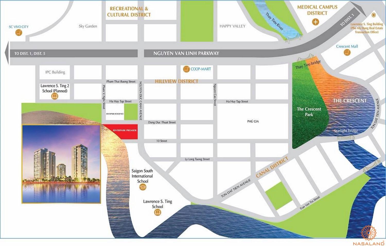 Vị trí dự án căn hộ Riverpark Premier quận 7