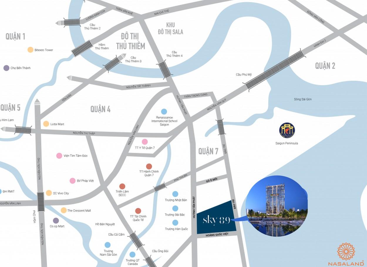 Vị trí dự án căn hộ Sky 89 quận 7