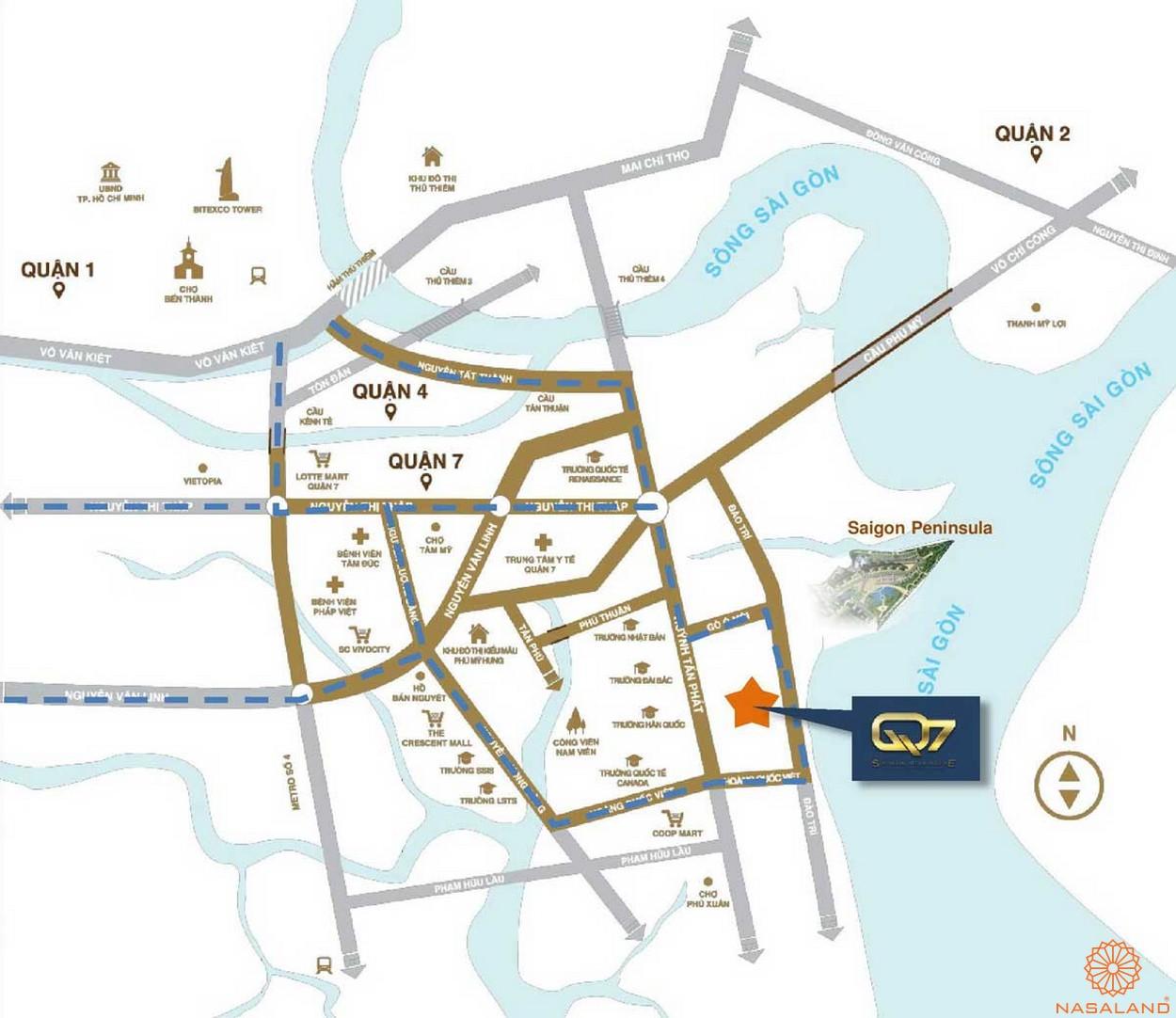 Vị trí dự án căn hộ Q7 Saigon Riverside Complex quận 7