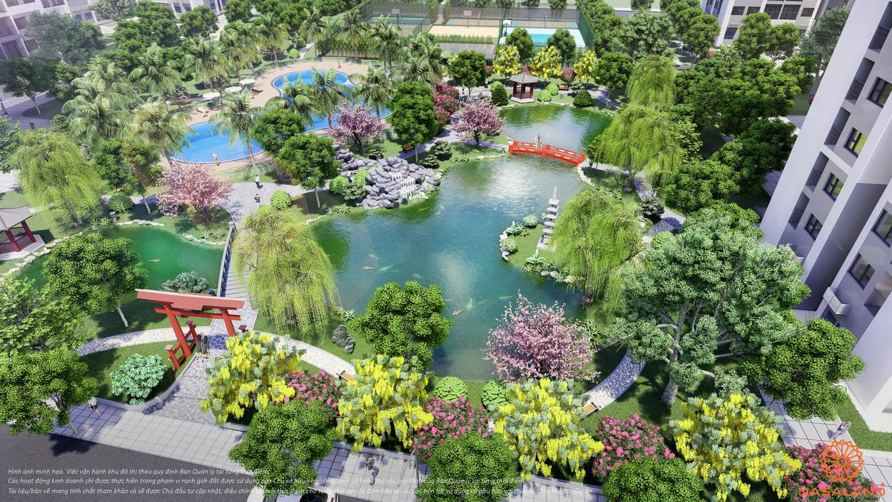 Tiện ích The Origami Zen S10 - phối cảnh vườn Nhậta