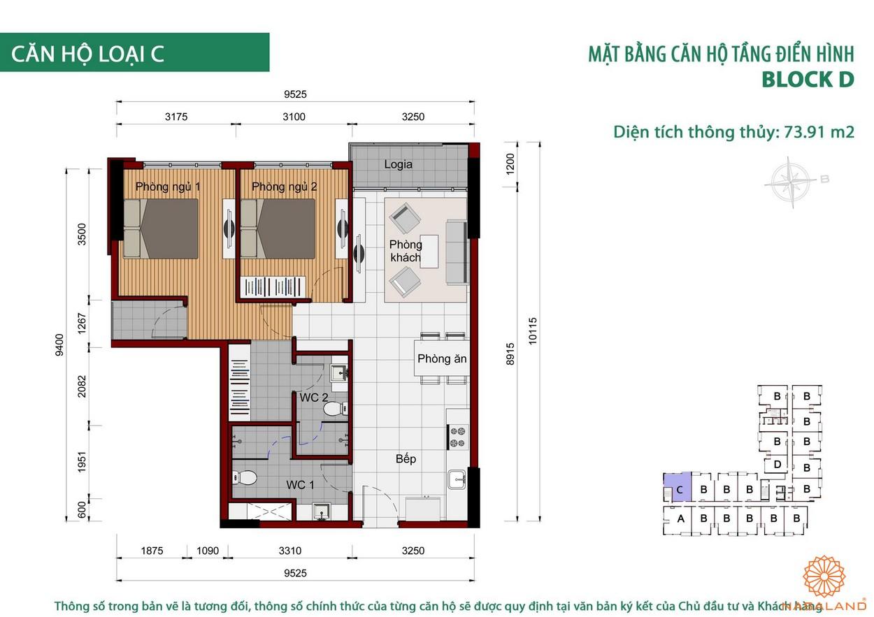 Thiết kế căn hộ Cộng Hòa Garden loại C