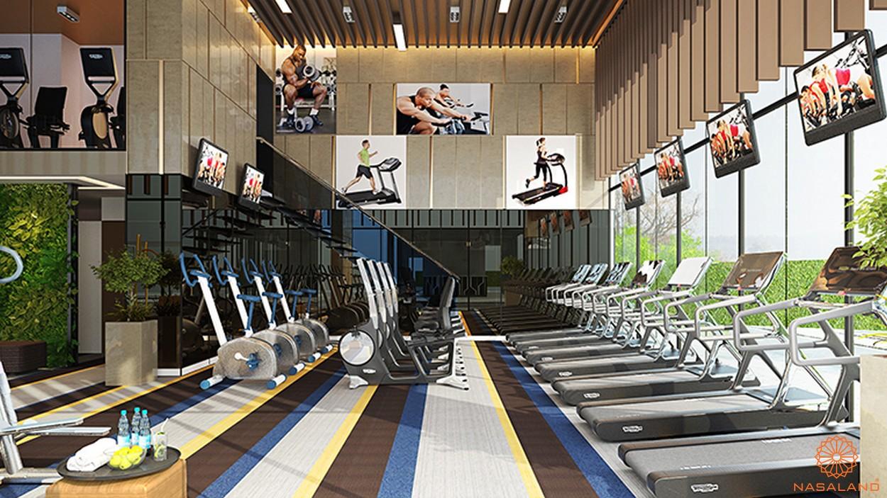 Phòng Gym với nhiều thiết bị dụng cụ