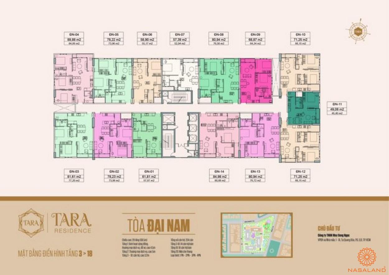 Mặt bằng tòa Đại Nam căn hộ Tara Residence