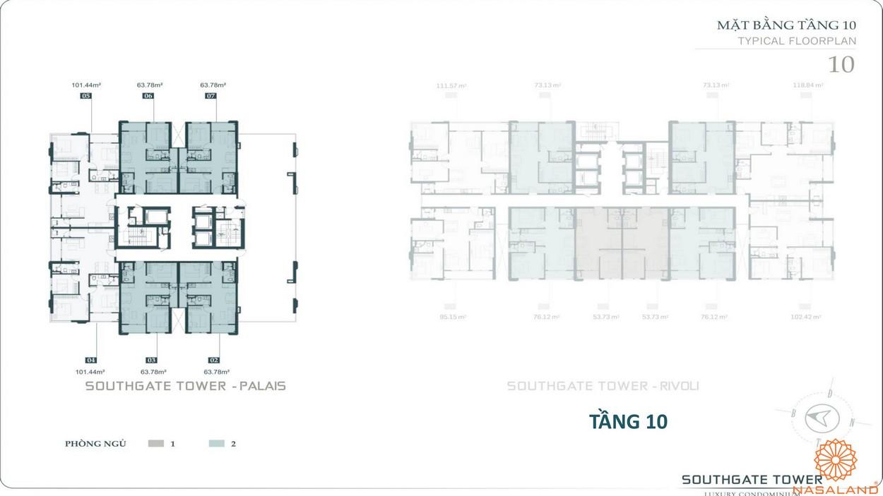 Mặt bằng tầng 10 dự án căn hộ South Gate Tower quận 7