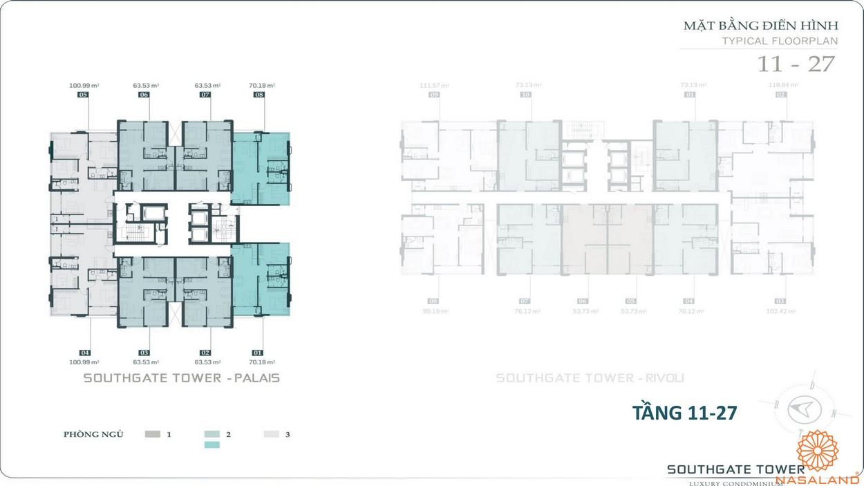 Mặt bằng tầng 11-27 dự án căn hộ South Gate Tower quận 7