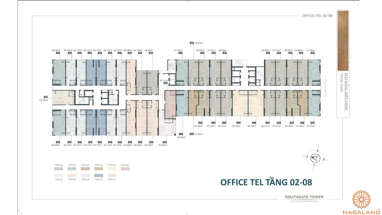 Mặt bằng tầng 2-8 dự án căn hộ South Gate Tower quận 7