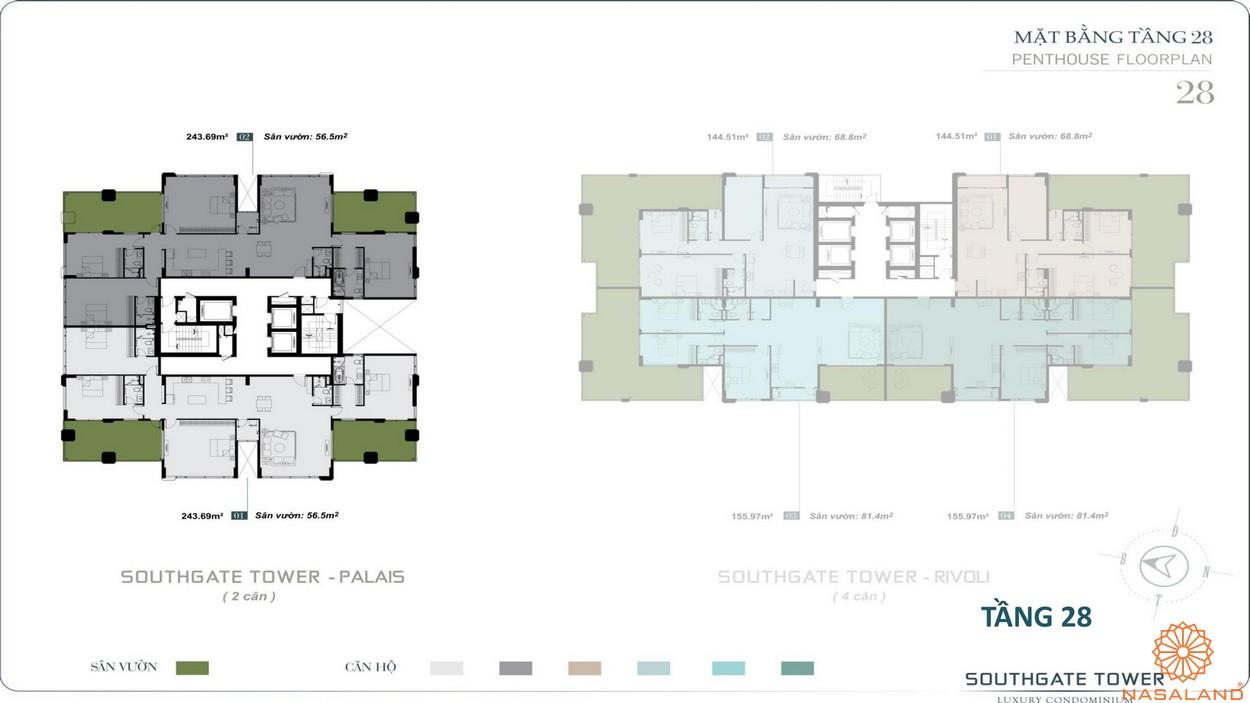Mặt bằng tầng 28 dự án căn hộ South Gate Tower quận 7