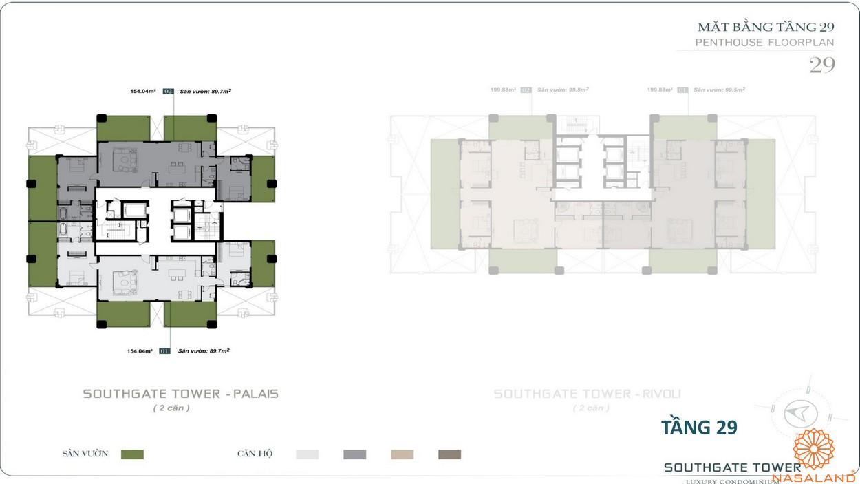 Mặt bằng tầng 29 dự án căn hộ South Gate Tower quận 7