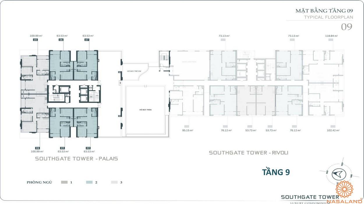 Mặt bằng tầng 9 dự án căn hộ South Gate Tower quận 7