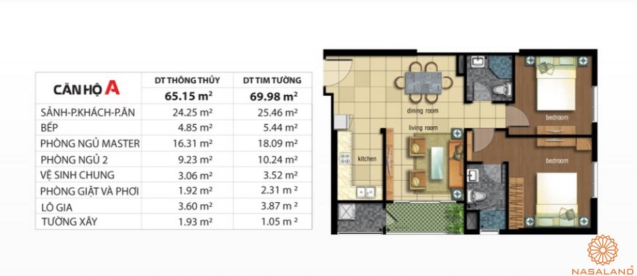 Mặt bằng dự án căn hộ Jamona City quận 7 mẫu A