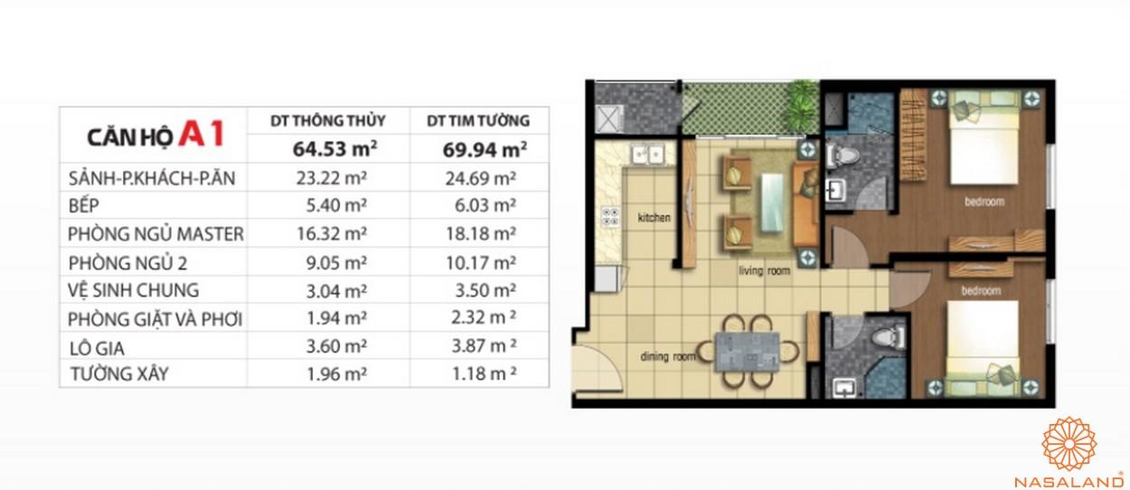 Mặt bằng dự án căn hộ Jamona City quận 7 mẫu A1