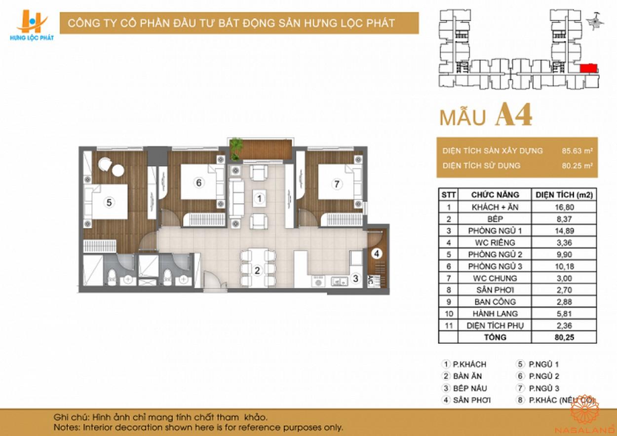 Mặt bằng dự án căn hộ Green Star Sky Garden Quận 7 mẫu A4