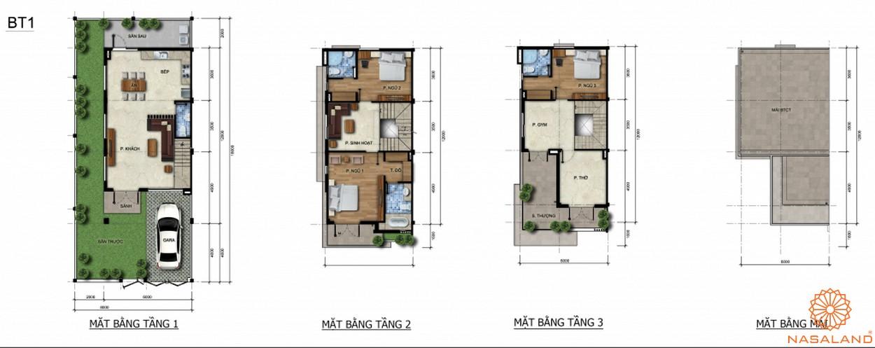 Mặt bằng cắt lớp từng tầng của một căn biệt thự mẫu