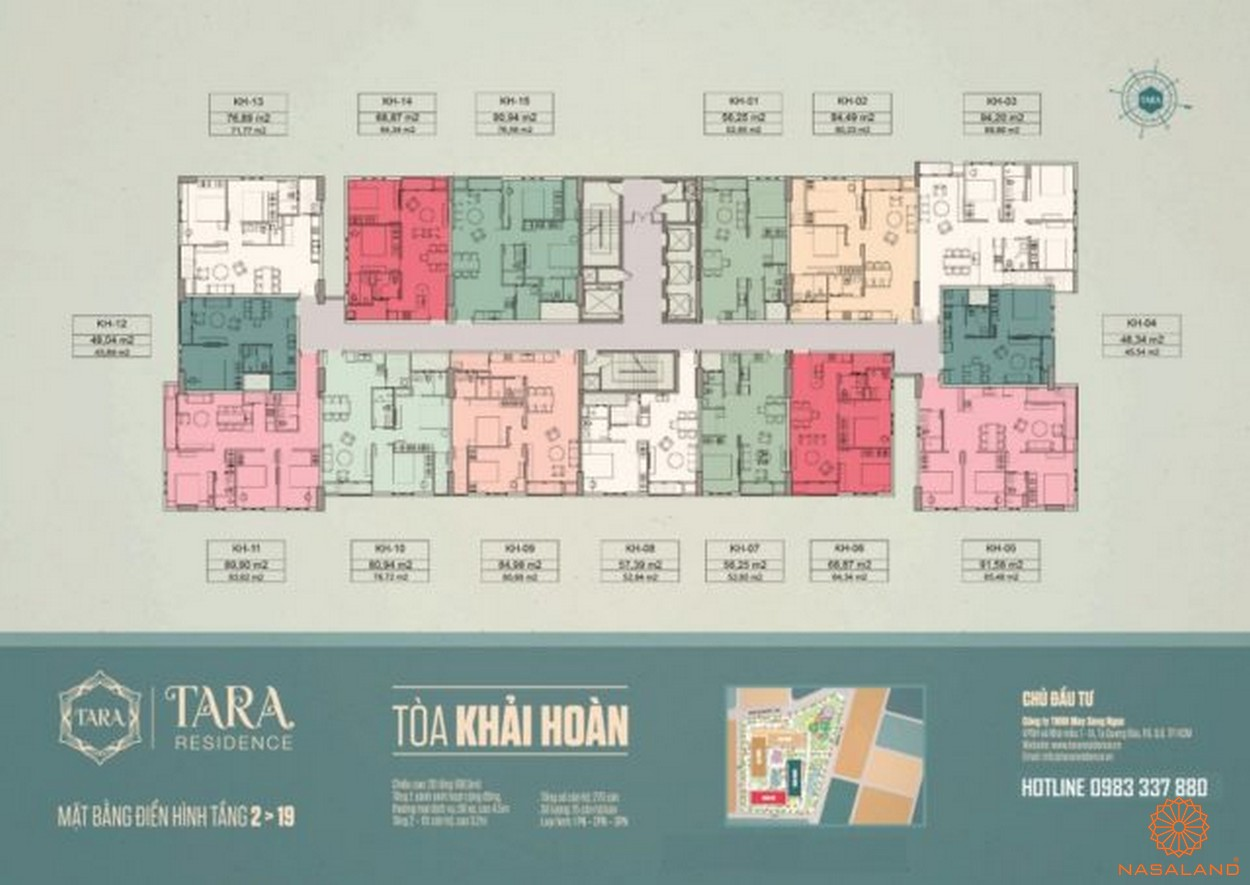Mặt bằng tòa Khải Hoàn căn hộ Tara Residence