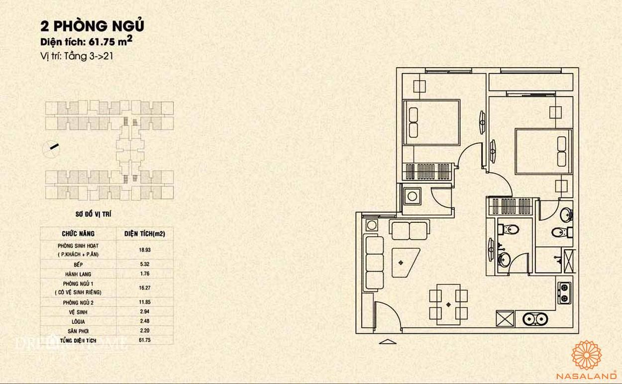 Mặt bằng căn 2PN dự án Dream Home Palace quận 8