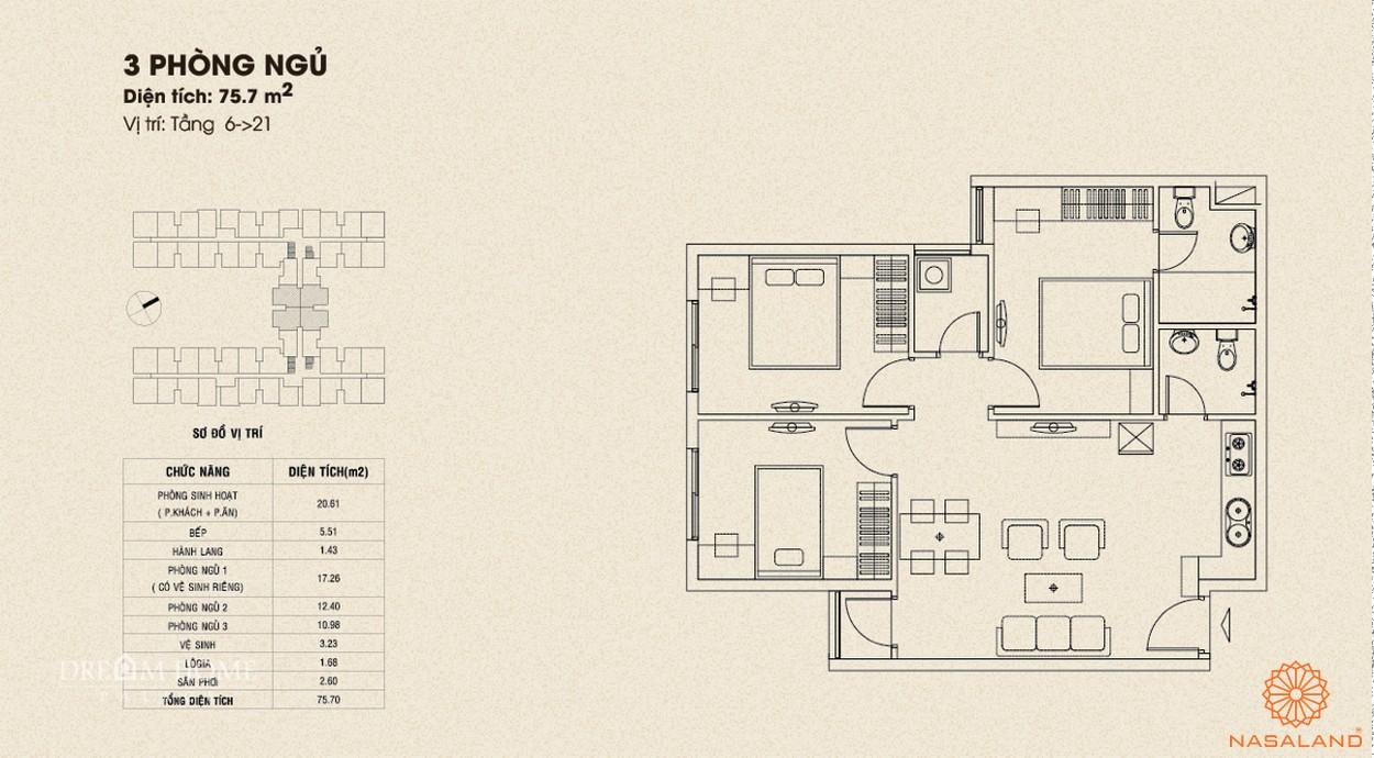 Mặt bằng căn 3PN dự án căn hộ Dream Home Palace quận 8