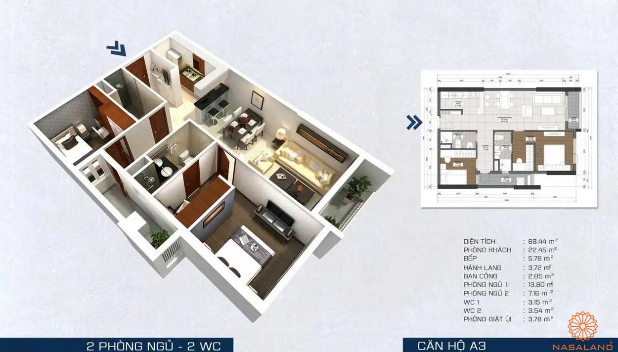 Mặt bằng dự án - căn hộ A3