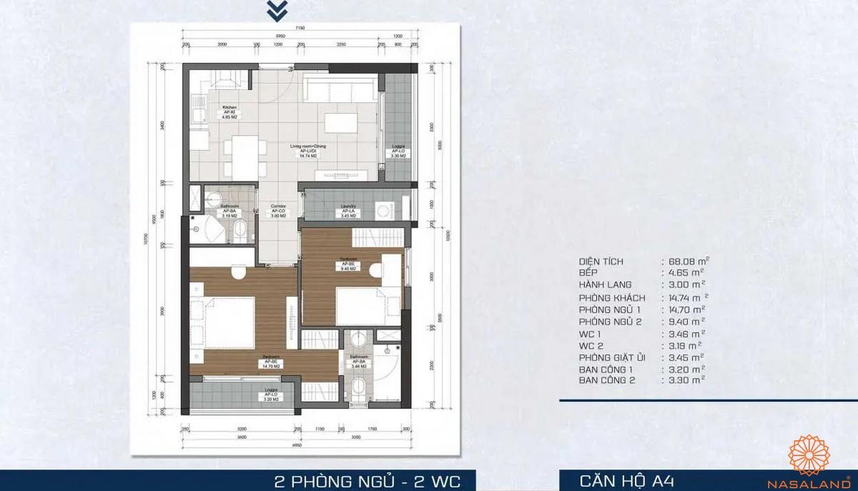 Mặt bằng dự án - căn hộ A4