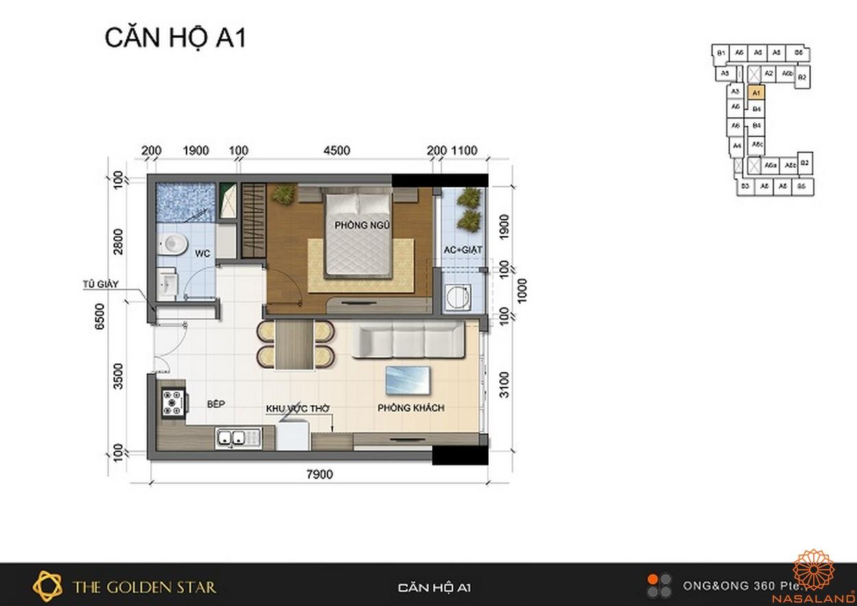 Mặt bằng dự án căn hộ The Golden Star quận 7 - Mẫu A1