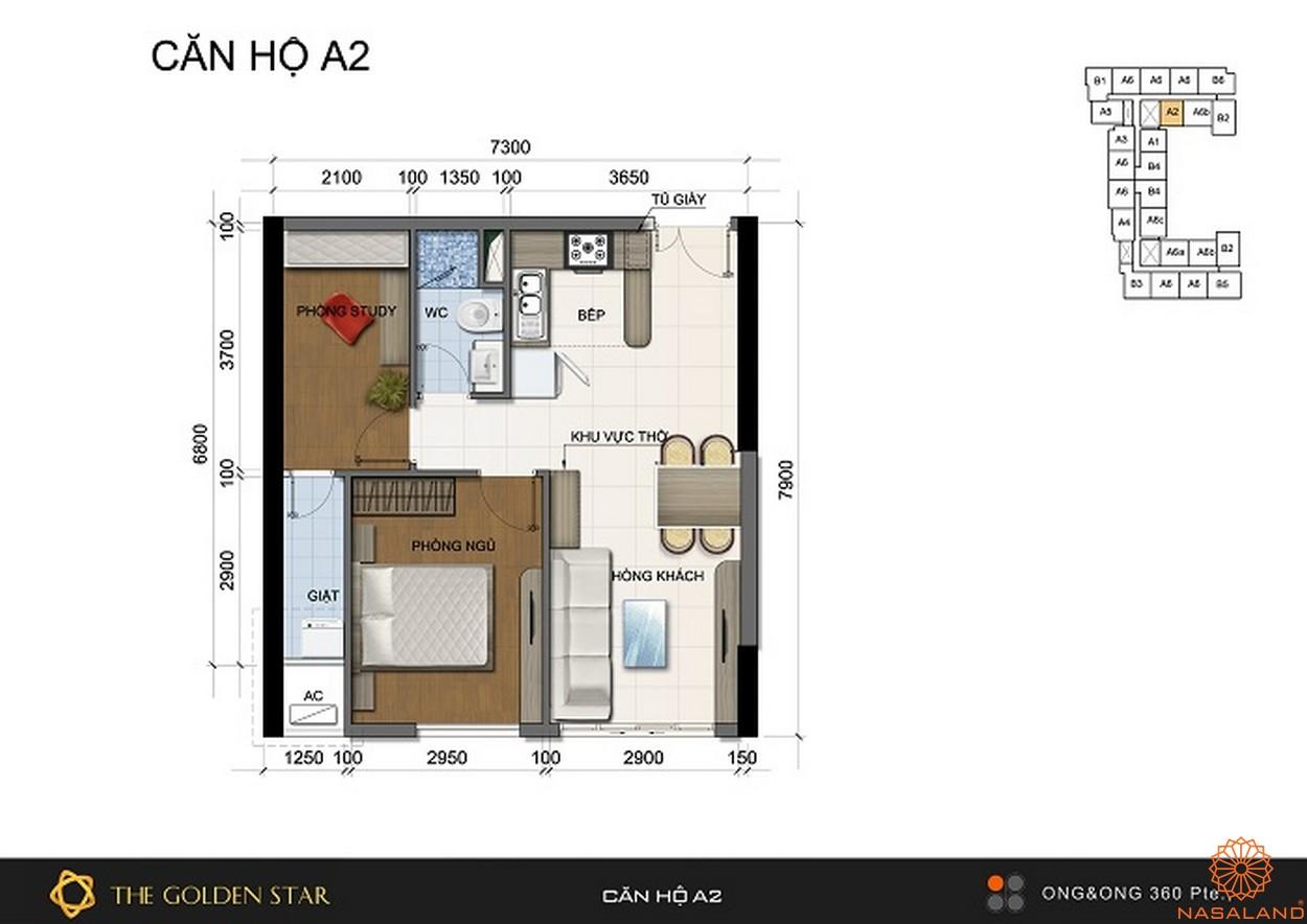 Mặt bằng dự án căn hộ The Golden Star quận 7 - Mẫu A2