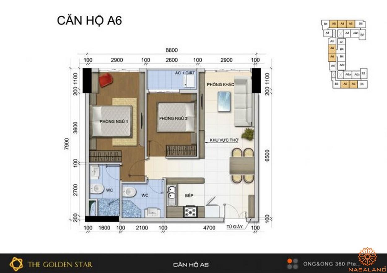 Mặt bằng dự án căn hộ The Golden Star quận 7 - Mẫu A6