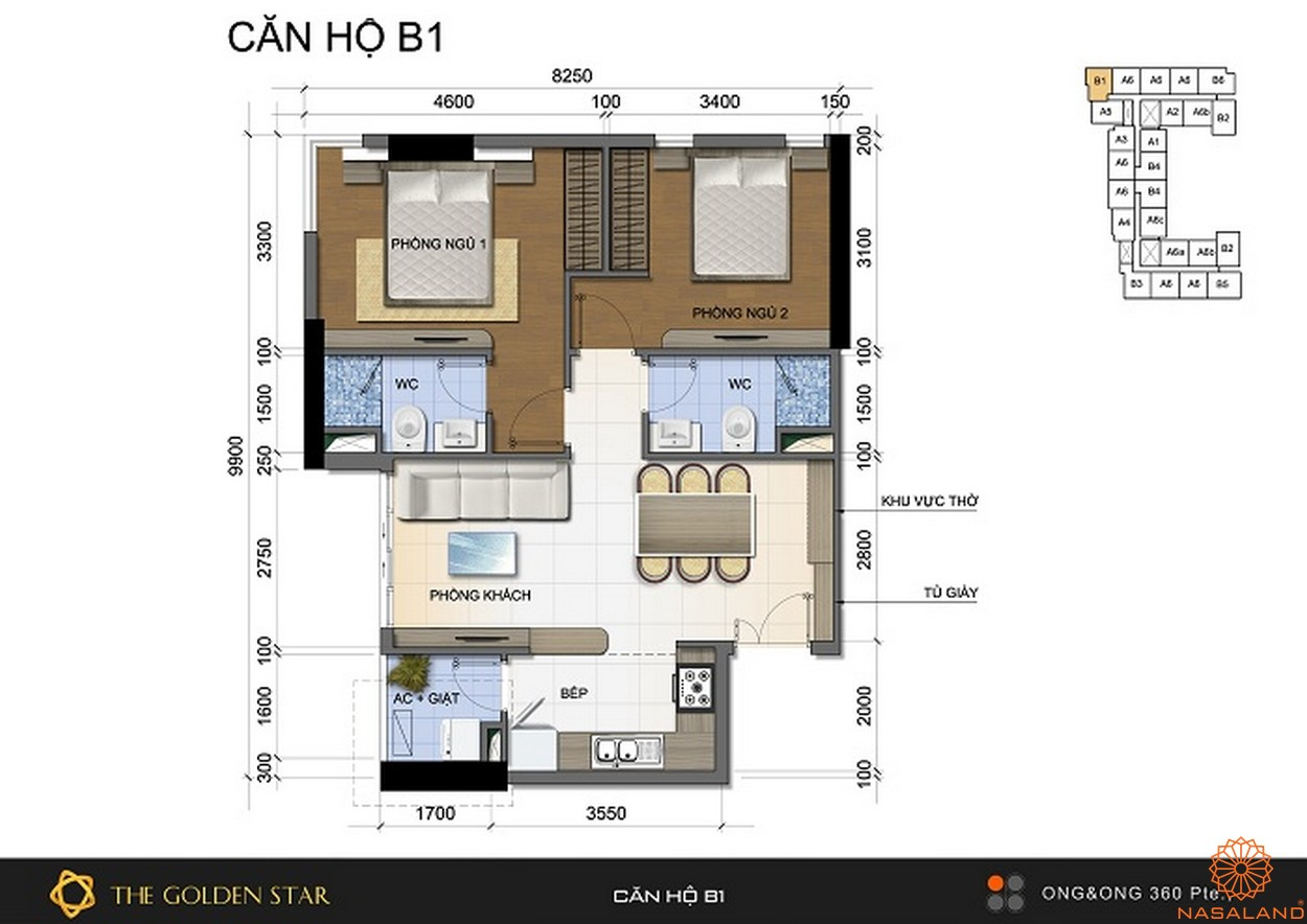 Mặt bằng dự án căn hộ The Golden Star quận 7 - Mẫu B1