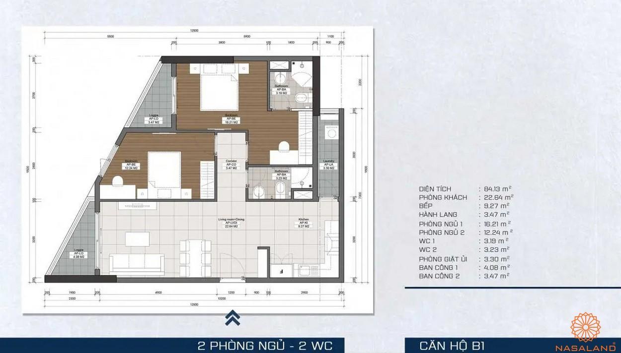 Mặt bằng dự án - căn hộ B1