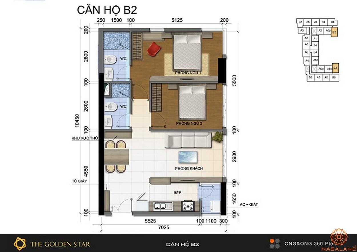 Mặt bằng dự án căn hộ The Golden Star quận 7 - Mẫu B2