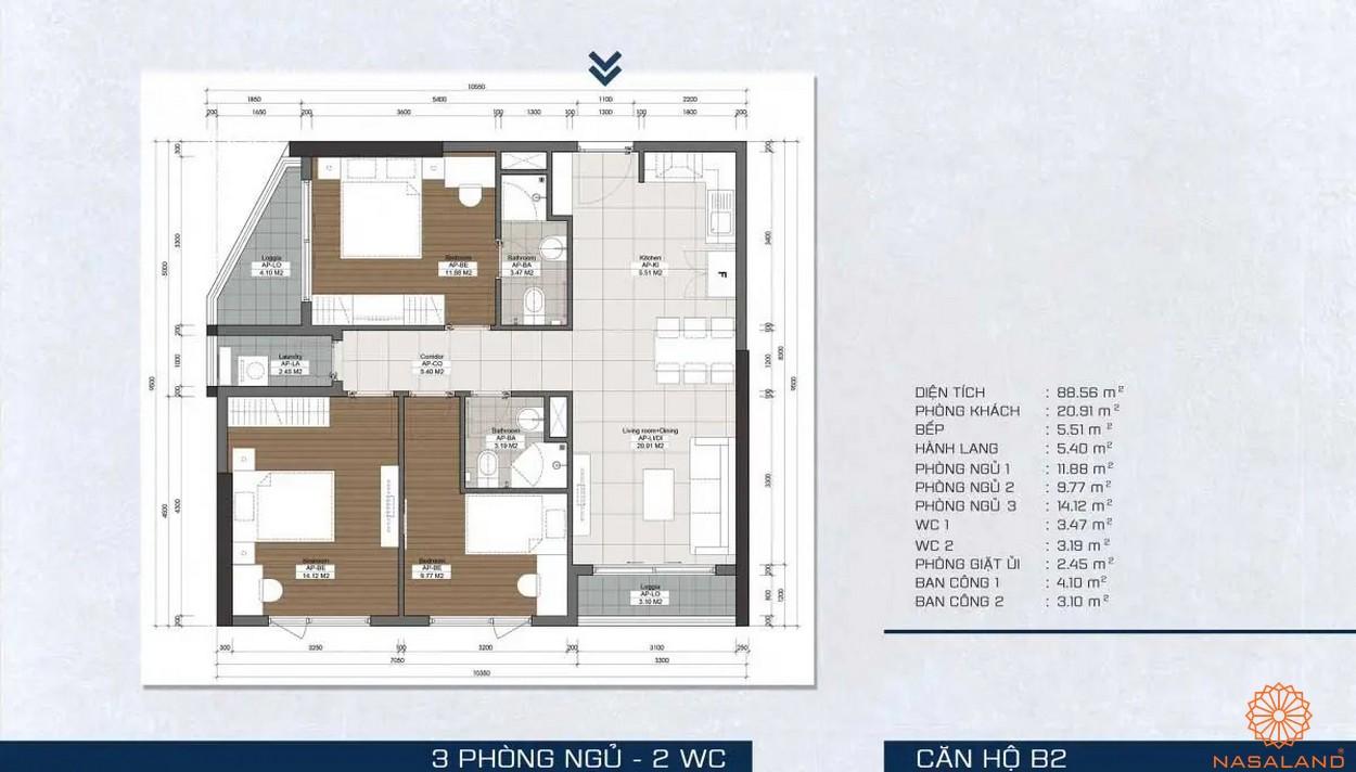 Mặt bằng dự án - căn hộ B2
