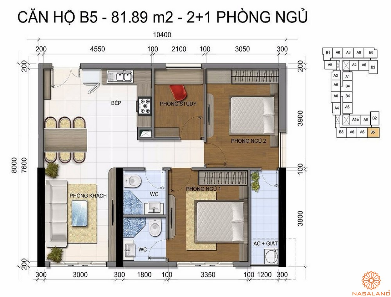 Mặt bằng dự án căn hộ The Golden Star quận 7 - Mẫu B5