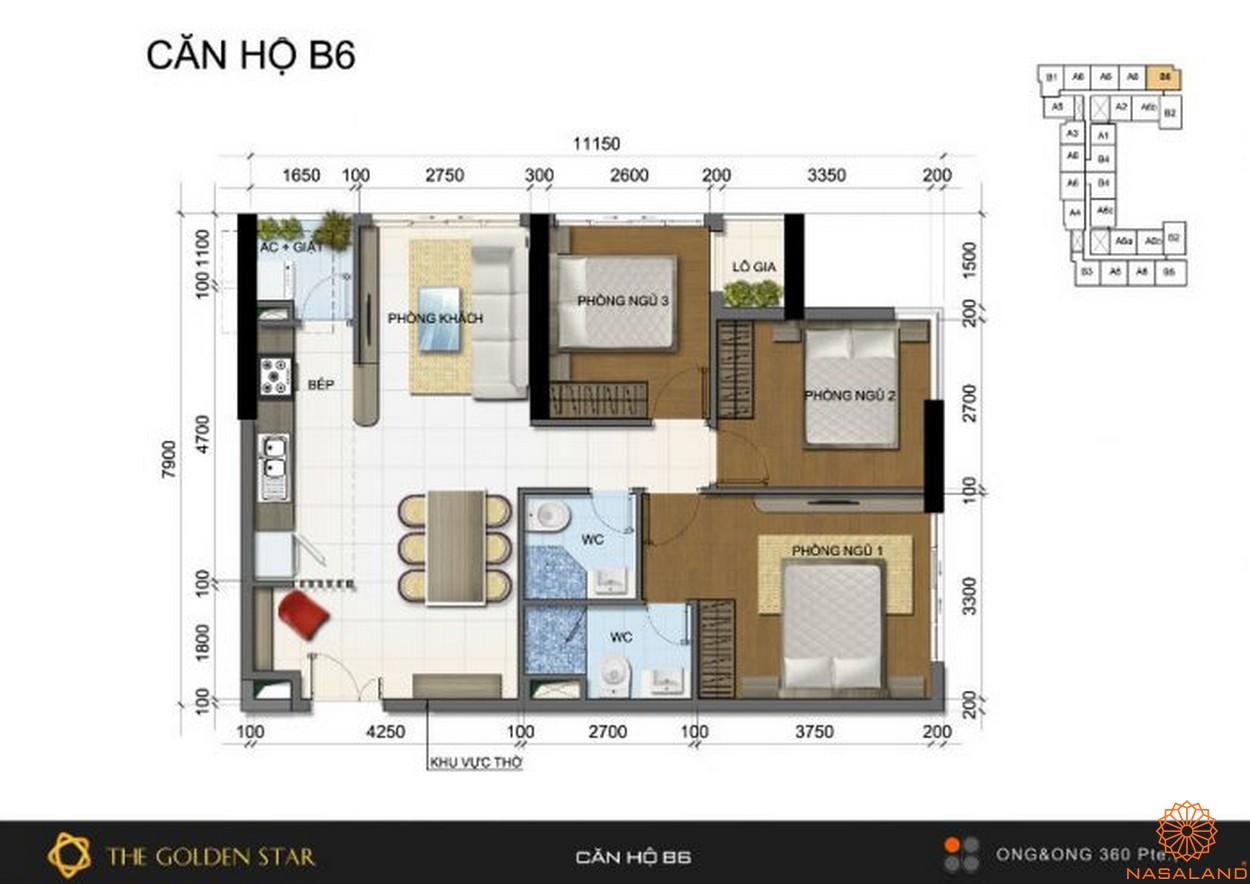Mặt bằng dự án căn hộ The Golden Star quận 7 - Mẫu B6