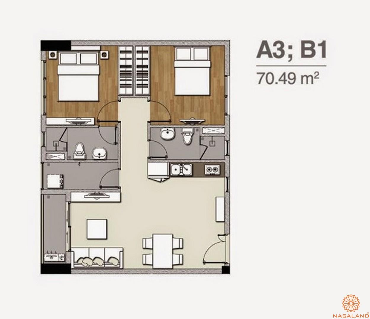 Mặt bằng dự án căn hộ Florita quận 7 căn 2PN