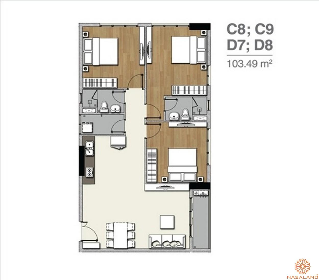 Mặt bằng dự án căn hộ Florita quận 7 căn 3PN