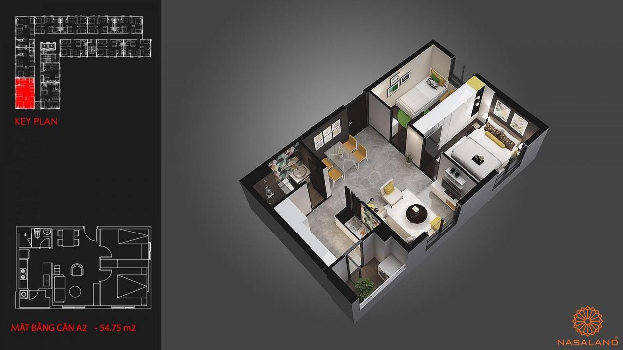 Thiết kế căn hộ 2 phòng ngủ tại dự án