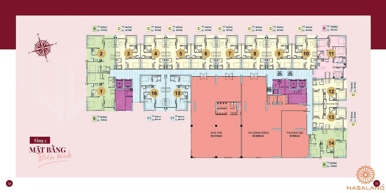 Mặt bằng dự án căn hộ chung cư Minh Quốc Plaza Bình Dương - Tầng 2
