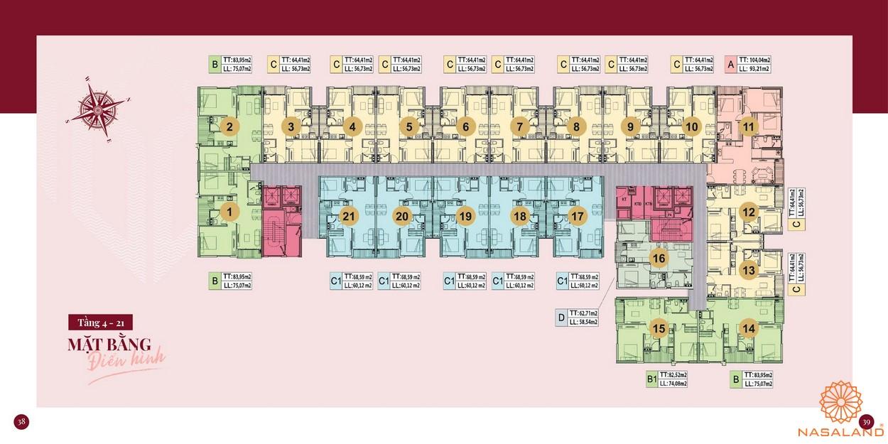 Mặt bằng dự án căn hộ chung cư Minh Quốc Plaza Bình Dương - Tầng 4