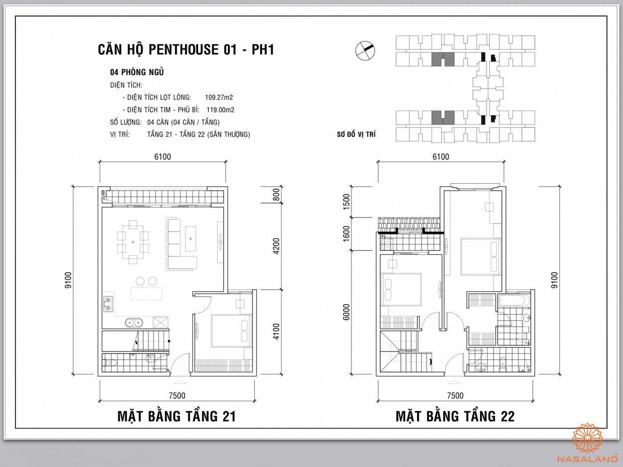 Mặt bằng căn penthouse dự án Dream Home Palace quận 8