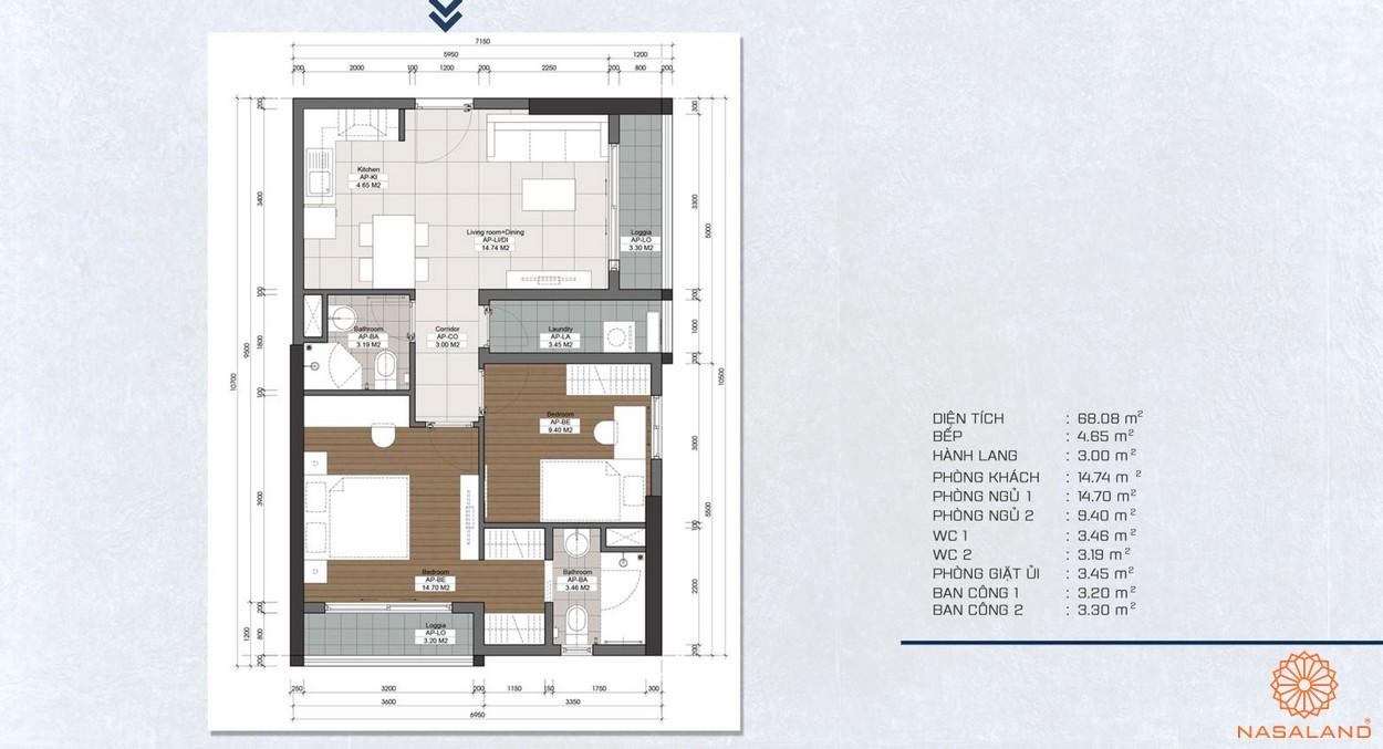 Mặt bằng căn 2PN dự án căn hộ The Pegasuite quận 8