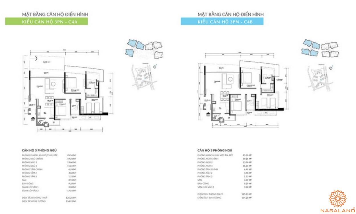 Mặt bằng dự án căn hộ TNR Kenton Node Quận 7 - 3PN