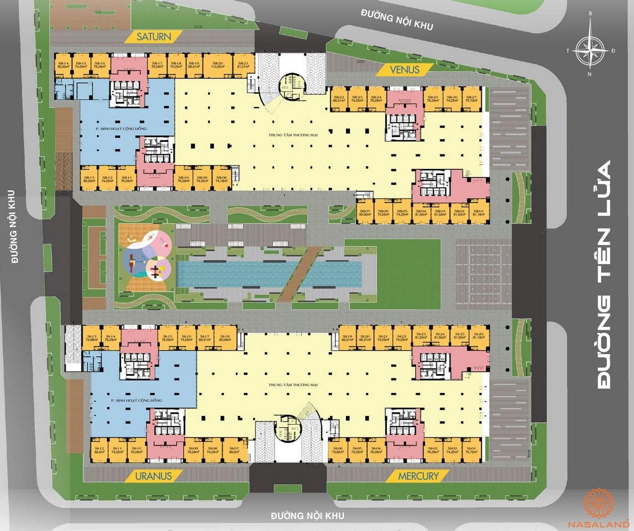 Mặt bằng dự án căn hộ Universe Complex Bình Tân tầng trệt